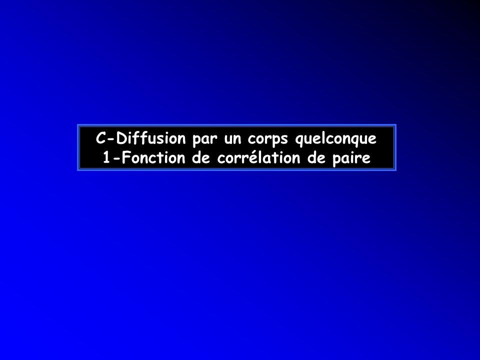 C-Diffusion par un corps quelconque 1-Fonction de corrélation de paire
