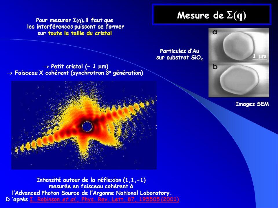 Mesure de (q) Intensité autour de la réflexion (1,1,-1) mesurée en faisceau cohérent à lAdvanced Photon Source de lArgonne National Laboratory.