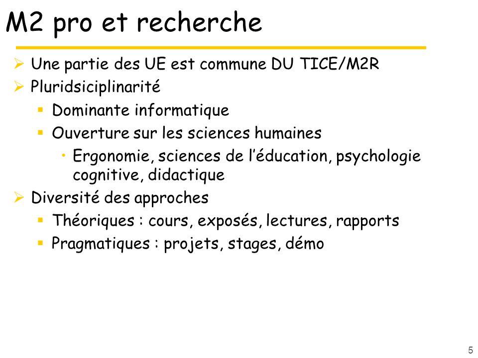 M2 pro et recherche Une partie des UE est commune DU TICE/M2R Pluridsiciplinarité Dominante informatique Ouverture sur les sciences humaines Ergonomie, sciences de léducation, psychologie cognitive, didactique Diversité des approches Théoriques : cours, exposés, lectures, rapports Pragmatiques : projets, stages, démo 5