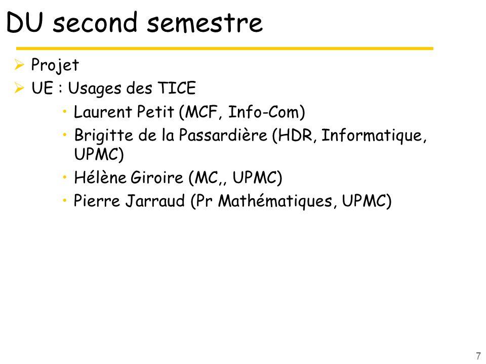 DU second semestre Projet UE : Usages des TICE Laurent Petit (MCF, Info-Com) Brigitte de la Passardière (HDR, Informatique, UPMC) Hélène Giroire (MC,, UPMC) Pierre Jarraud (Pr Mathématiques, UPMC) 7