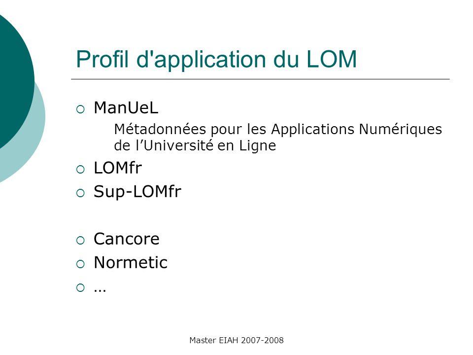 Master EIAH 2007-2008 Profil d application du LOM ManUeL Métadonnées pour les Applications Numériques de lUniversité en Ligne LOMfr Sup-LOMfr Cancore Normetic …