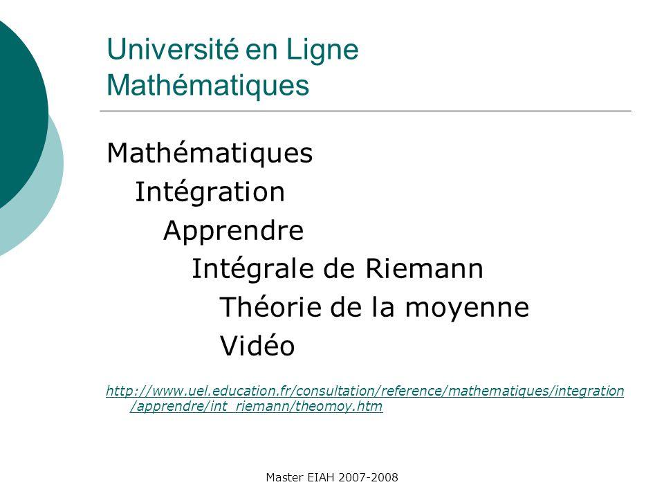 Université en Ligne Mathématiques Mathématiques Intégration Apprendre Intégrale de Riemann Théorie de la moyenne Vidéo http://www.uel.education.fr/consultation/reference/mathematiques/integration /apprendre/int_riemann/theomoy.htm