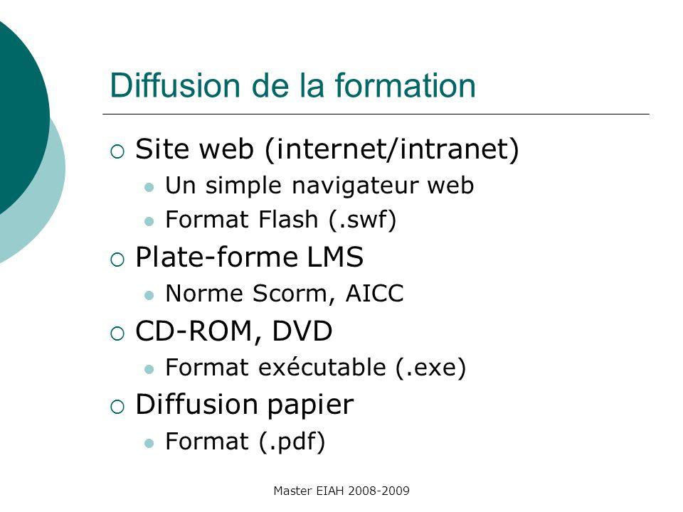 Diffusion de la formation Site web (internet/intranet) Un simple navigateur web Format Flash (.swf) Plate-forme LMS Norme Scorm, AICC CD-ROM, DVD Format exécutable (.exe) Diffusion papier Format (.pdf) Master EIAH 2008-2009