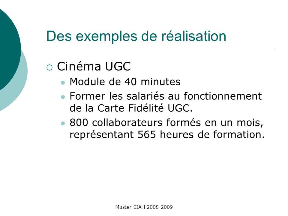 Des exemples de réalisation Cinéma UGC Module de 40 minutes Former les salariés au fonctionnement de la Carte Fidélité UGC.