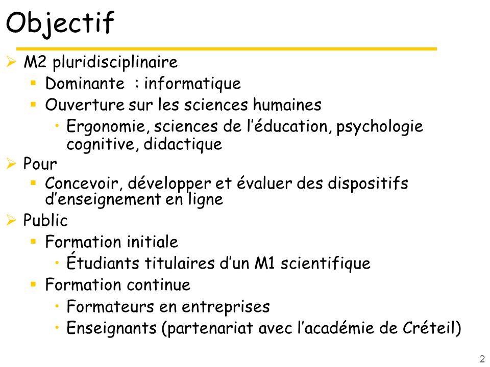 2 Objectif M2 pluridisciplinaire Dominante : informatique Ouverture sur les sciences humaines Ergonomie, sciences de léducation, psychologie cognitive