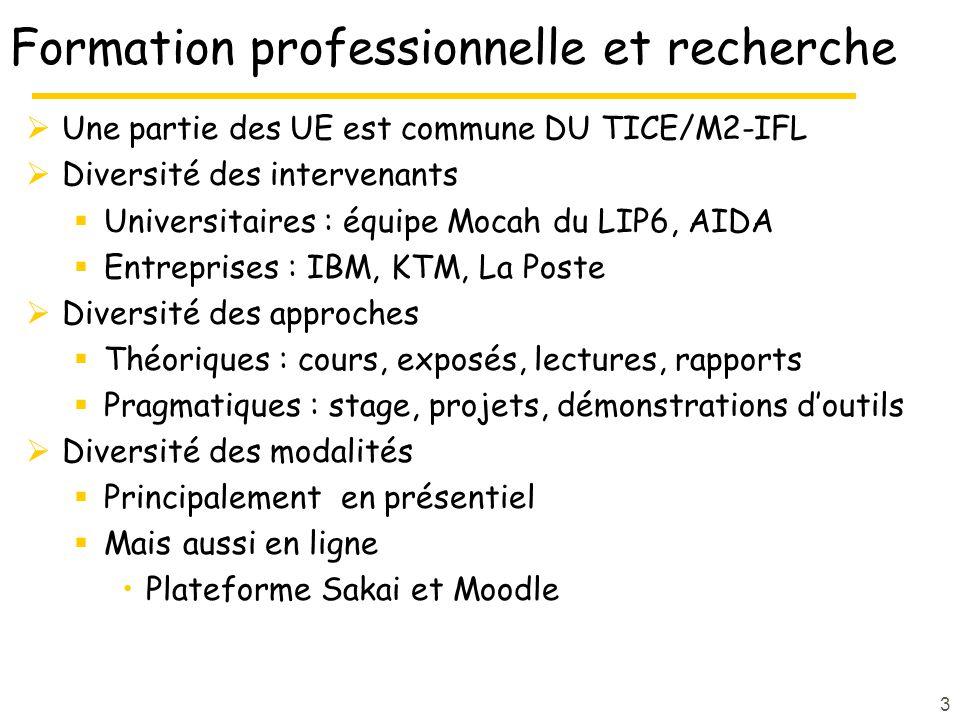 Formation professionnelle et recherche Une partie des UE est commune DU TICE/M2-IFL Diversité des intervenants Universitaires : équipe Mocah du LIP6, AIDA Entreprises : IBM, KTM, La Poste Diversité des approches Théoriques : cours, exposés, lectures, rapports Pragmatiques : stage, projets, démonstrations doutils Diversité des modalités Principalement en présentiel Mais aussi en ligne Plateforme Sakai et Moodle 3