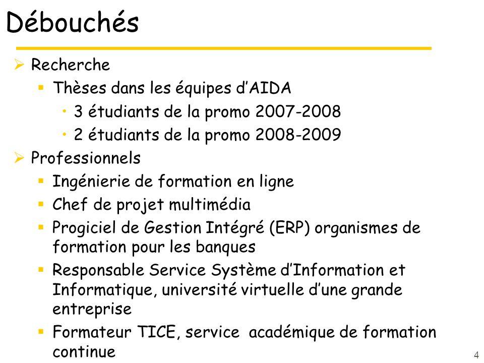 Débouchés Recherche Thèses dans les équipes dAIDA 3 étudiants de la promo 2007-2008 2 étudiants de la promo 2008-2009 Professionnels Ingénierie de for