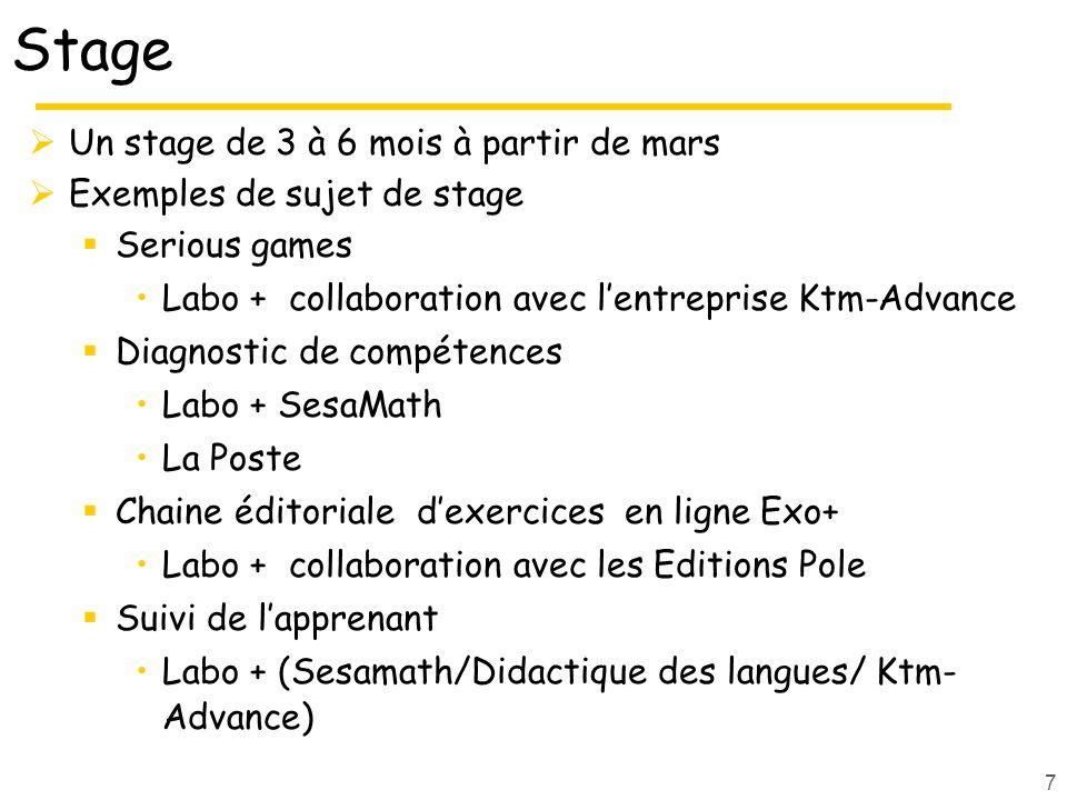 Stage Un stage de 3 à 6 mois à partir de mars Exemples de sujet de stage Serious games Labo + collaboration avec lentreprise Ktm-Advance Diagnostic de compétences Labo + SesaMath La Poste Chaine éditoriale dexercices en ligne Exo+ Labo + collaboration avec les Editions Pole Suivi de lapprenant Labo + (Sesamath/Didactique des langues/ Ktm- Advance) 7