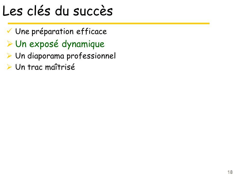 18 Les clés du succès Une préparation efficace Un exposé dynamique Un diaporama professionnel Un trac maîtrisé