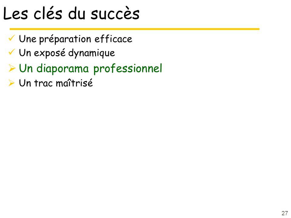 27 Les clés du succès Une préparation efficace Un exposé dynamique Un diaporama professionnel Un trac maîtrisé