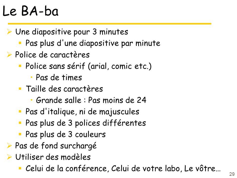 29 Le BA-ba Une diapositive pour 3 minutes Pas plus d'une diapositive par minute Police de caractères Police sans sérif (arial, comic etc.) Pas de tim