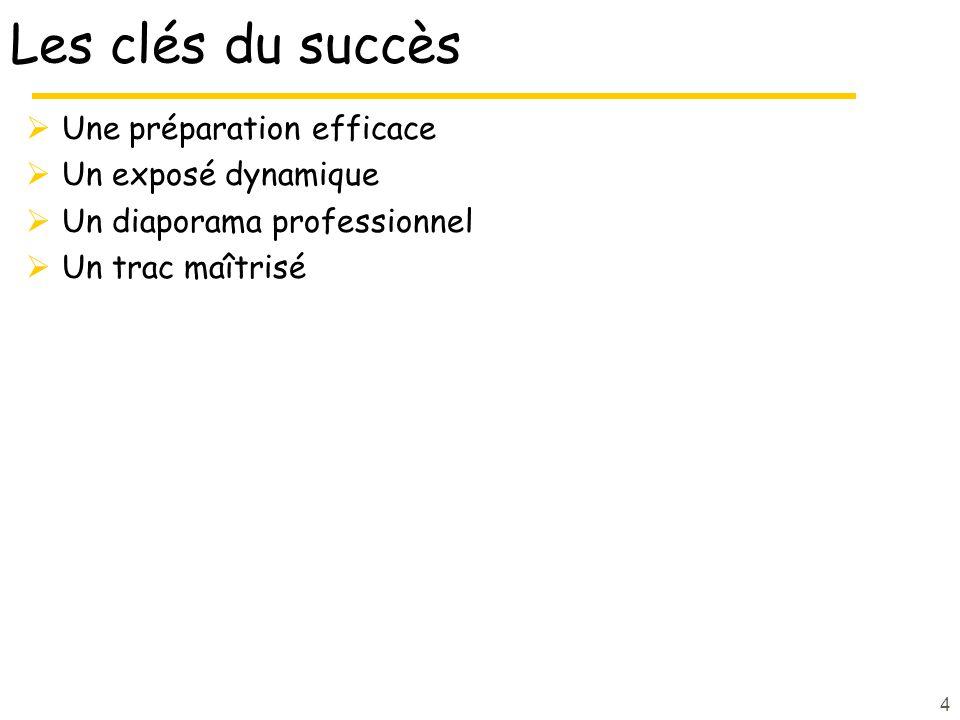 4 Les clés du succès Une préparation efficace Un exposé dynamique Un diaporama professionnel Un trac maîtrisé