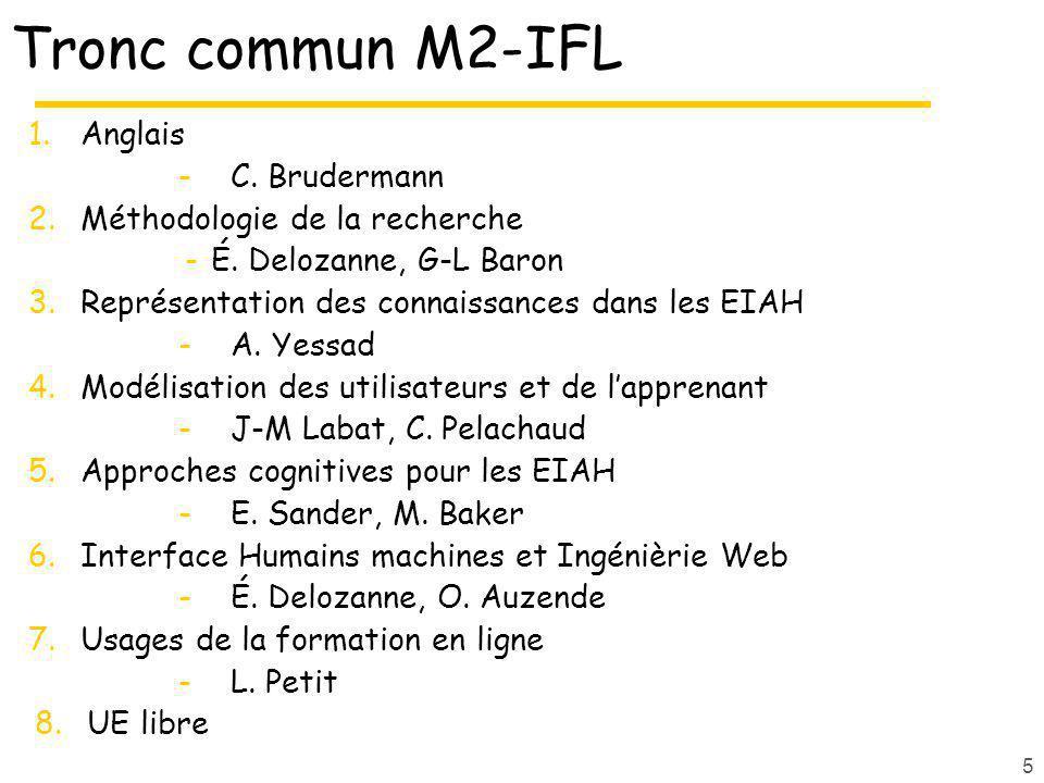 Tronc commun M2-IFL 1.Anglais -C. Brudermann 2.Méthodologie de la recherche -É. Delozanne, G-L Baron 3.Représentation des connaissances dans les EIAH