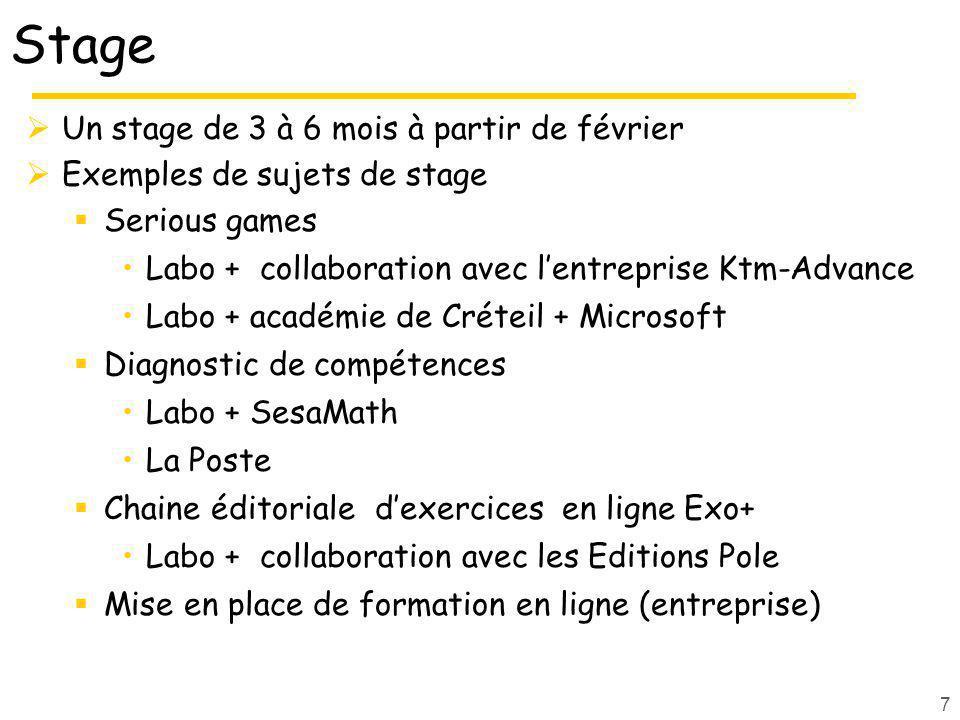 Stage Un stage de 3 à 6 mois à partir de février Exemples de sujets de stage Serious games Labo + collaboration avec lentreprise Ktm-Advance Labo + ac