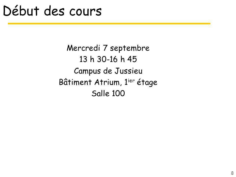 Début des cours Mercredi 7 septembre 13 h 30-16 h 45 Campus de Jussieu Bâtiment Atrium, 1 ier étage Salle 100 8