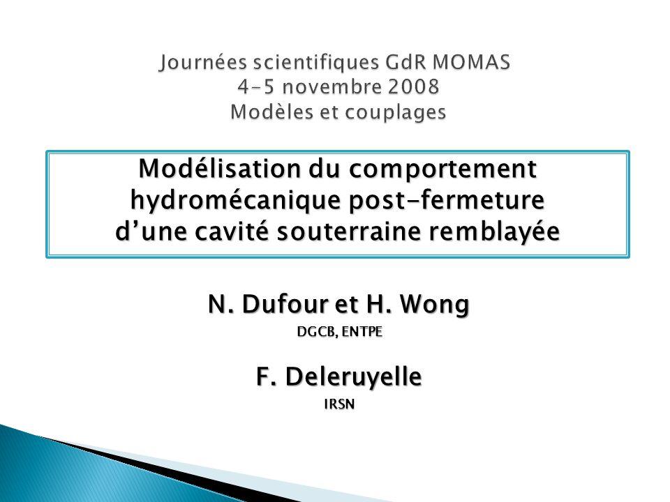 Modélisation du comportement hydromécanique post-fermeture dune cavité souterraine remblayée N.