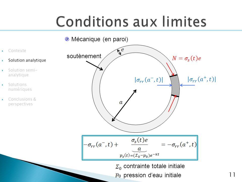 remblai 11 Mécanique (en paroi) soutènement Contexte Solution analytique Solution semi- analytique Solutions numériques Conclusions & perspectives contrainte totale initiale pression deau initiale