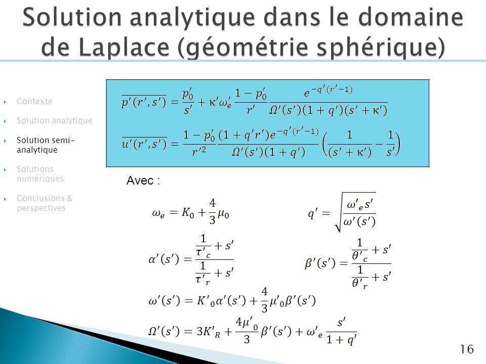 16 Avec : Contexte Solution analytique Solution semi- analytique Solutions numériques Conclusions & perspectives