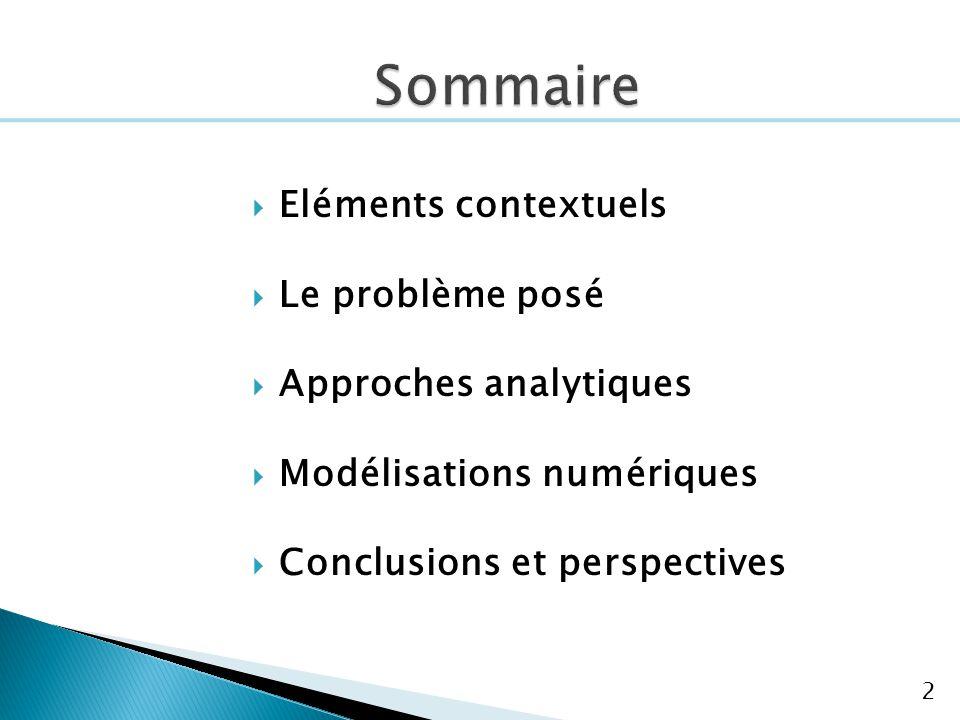2 Eléments contextuels Le problème posé Approches analytiques Modélisations numériques Conclusions et perspectives