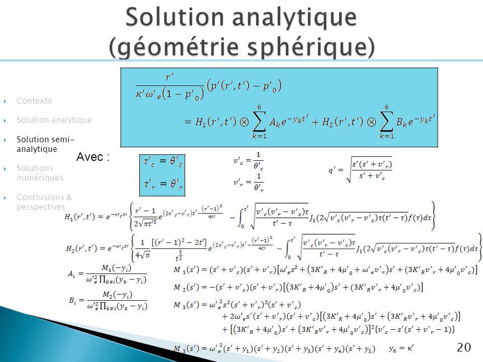 Avec : 20 Contexte Solution analytique Solution semi- analytique Solutions numériques Conclusions & perspectives