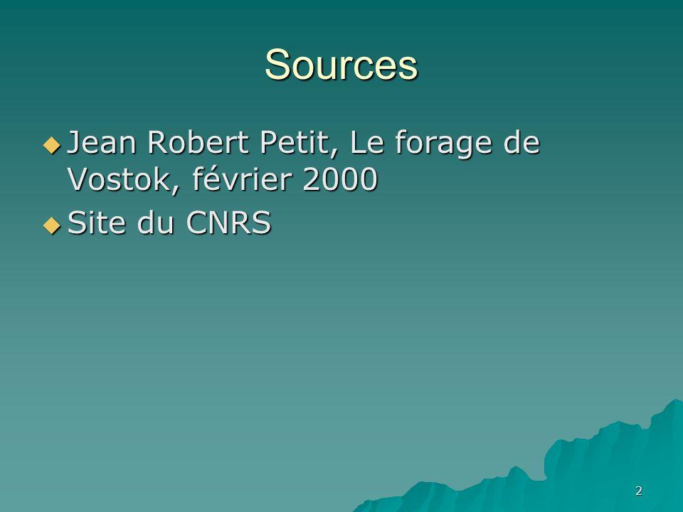 Sources Jean Robert Petit, Le forage de Vostok, février 2000 Jean Robert Petit, Le forage de Vostok, février 2000 Site du CNRS Site du CNRS 2