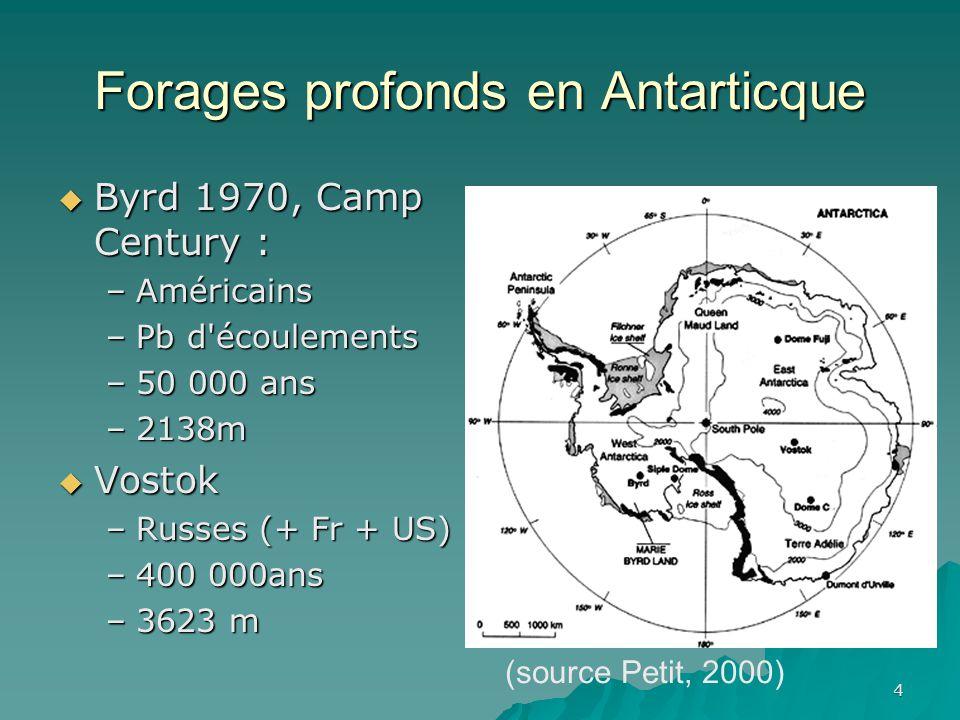 4 Forages profonds en Antarticque Byrd 1970, Camp Century : Byrd 1970, Camp Century : –Américains –Pb d écoulements –50 000 ans –2138m Vostok Vostok –Russes (+ Fr + US) –400 000ans –3623 m (source Petit, 2000)