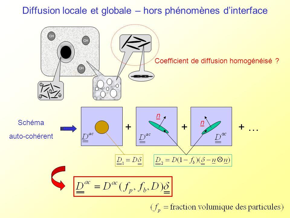 Diffusion locale et globale – hors phénomènes dinterface CH Coefficient de diffusion homogénéisé ? Schéma auto-cohérent n n +++ …