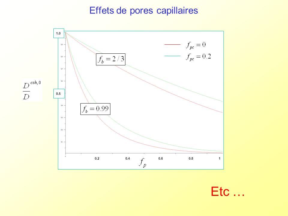 Effets de pores capillaires 0.20.40.60.81 0.5 1.0 Etc …