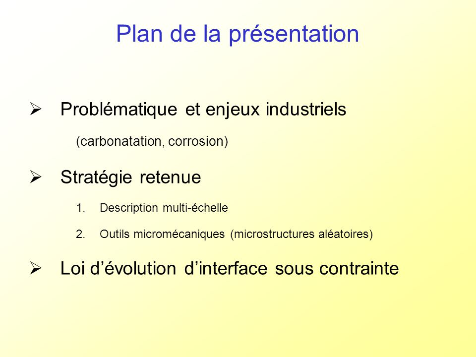 Diffusion locale et globale – hors phénomènes dinterface CH « outer » CSH n