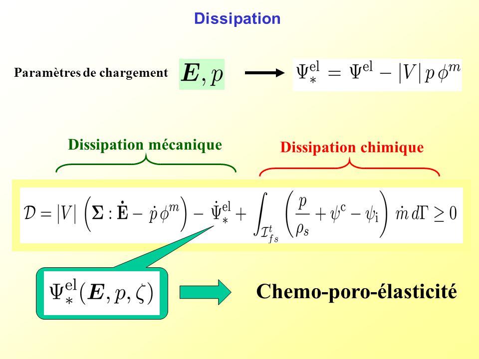 Dissipation Dissipation chimique Chemo-poro-élasticité Paramètres de chargement Dissipation mécanique