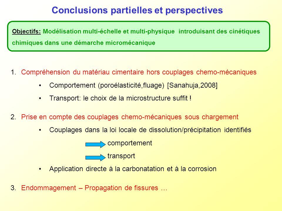 Conclusions partielles et perspectives Objectifs: Modélisation multi-échelle et multi-physique introduisant des cinétiques chimiques dans une démarche