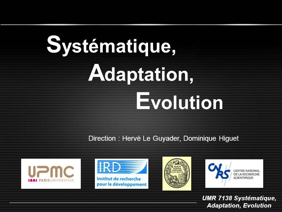UMR 7138 Systématique, Adaptation, Evolution S ystématique, A daptation, E volution Direction : Hervé Le Guyader, Dominique Higuet