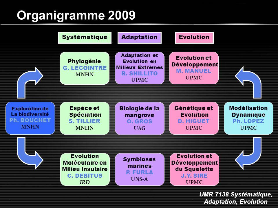 UMR 7138 Systématique, Adaptation, Evolution Organigramme 2009 Phylogénie G. LECOINTRE MNHN Espèce et Spéciation S. TILLIER MNHN Systématique Adaptati