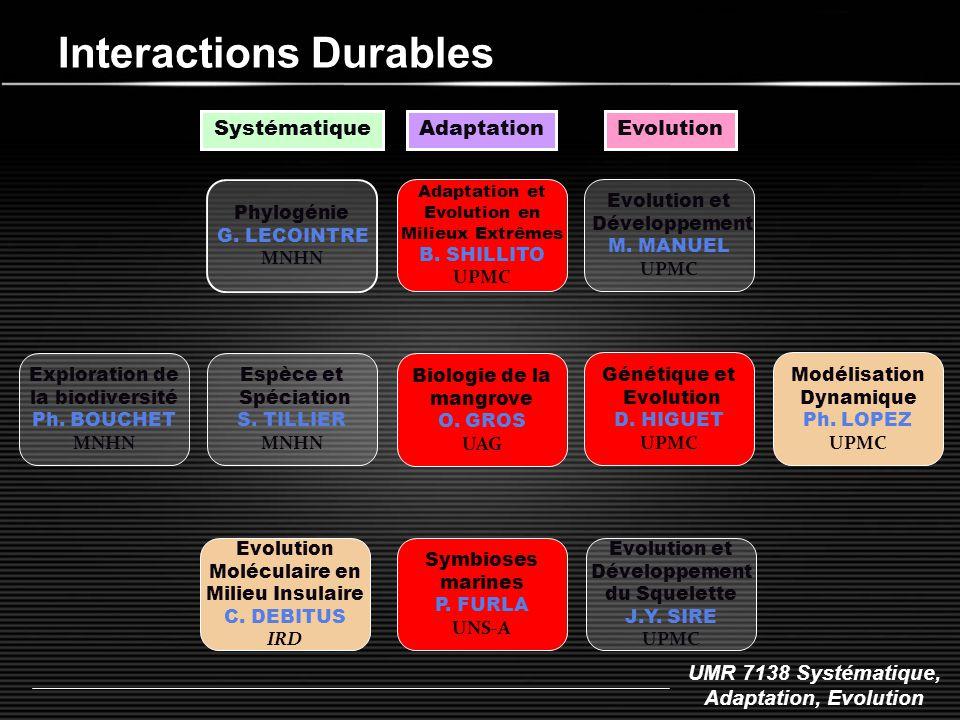 UMR 7138 Systématique, Adaptation, Evolution Interactions Durables Phylogénie G. LECOINTRE MNHN Espèce et Spéciation S. TILLIER MNHN Systématique Adap