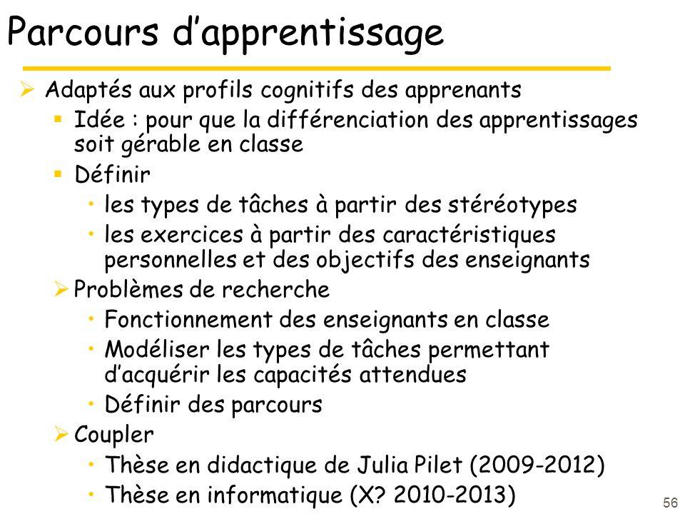 Parcours dapprentissage Adaptés aux profils cognitifs des apprenants Idée : pour que la différenciation des apprentissages soit gérable en classe Définir les types de tâches à partir des stéréotypes les exercices à partir des caractéristiques personnelles et des objectifs des enseignants Problèmes de recherche Fonctionnement des enseignants en classe Modéliser les types de tâches permettant dacquérir les capacités attendues Définir des parcours Coupler Thèse en didactique de Julia Pilet (2009-2012) Thèse en informatique (X.