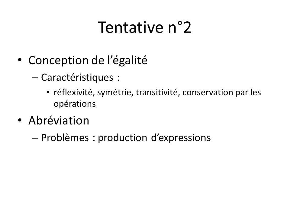 Tentative n°2 Conception de légalité – Caractéristiques : réflexivité, symétrie, transitivité, conservation par les opérations Abréviation – Problèmes : production dexpressions