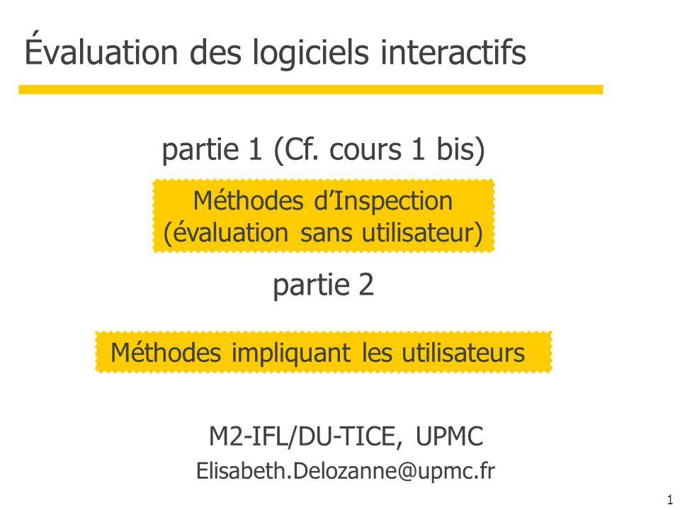 1 Évaluation des logiciels interactifs M2-IFL/DU-TICE, UPMC Elisabeth.Delozanne@upmc.fr Méthodes dInspection (évaluation sans utilisateur) partie 1 (C