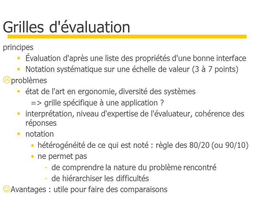 Grilles d'évaluation principes Évaluation d'après une liste des propriétés d'une bonne interface Notation systématique sur une échelle de valeur (3 à