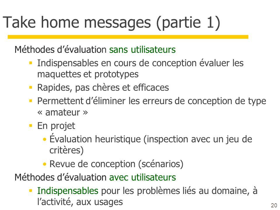 20 Take home messages (partie 1) Méthodes dévaluation sans utilisateurs Indispensables en cours de conception évaluer les maquettes et prototypes Rapi