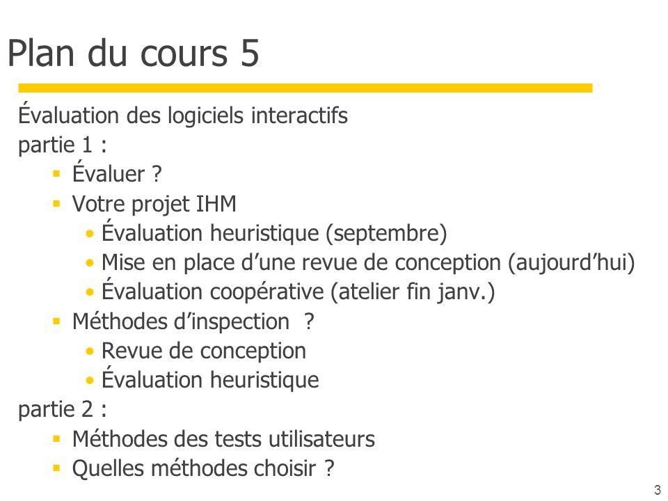 3 Plan du cours 5 Évaluation des logiciels interactifs partie 1 : Évaluer ? Votre projet IHM Évaluation heuristique (septembre) Mise en place dune rev