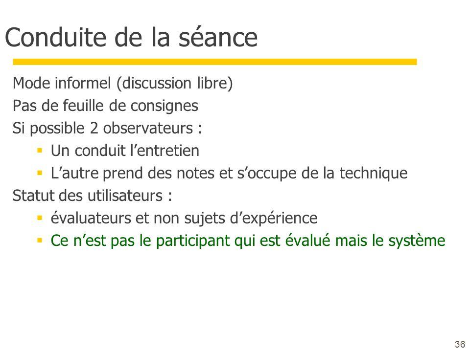 36 Conduite de la séance Mode informel (discussion libre) Pas de feuille de consignes Si possible 2 observateurs : Un conduit lentretien Lautre prend