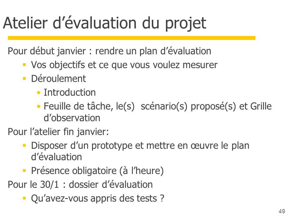 Atelier dévaluation du projet Pour début janvier : rendre un plan dévaluation Vos objectifs et ce que vous voulez mesurer Déroulement Introduction Feu