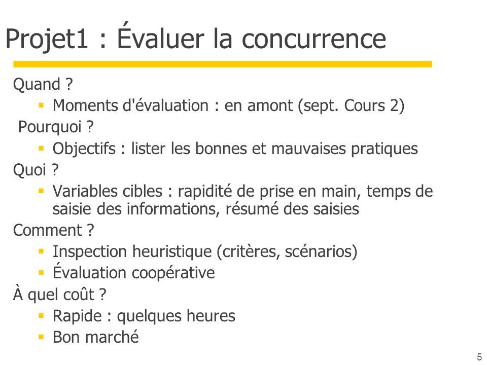 5 Projet1 : Évaluer la concurrence Quand ? Moments d'évaluation : en amont (sept. Cours 2) Pourquoi ? Objectifs : lister les bonnes et mauvaises prati
