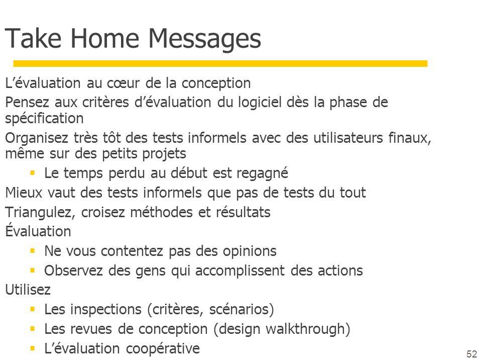52 Take Home Messages Lévaluation au cœur de la conception Pensez aux critères dévaluation du logiciel dès la phase de spécification Organisez très tô