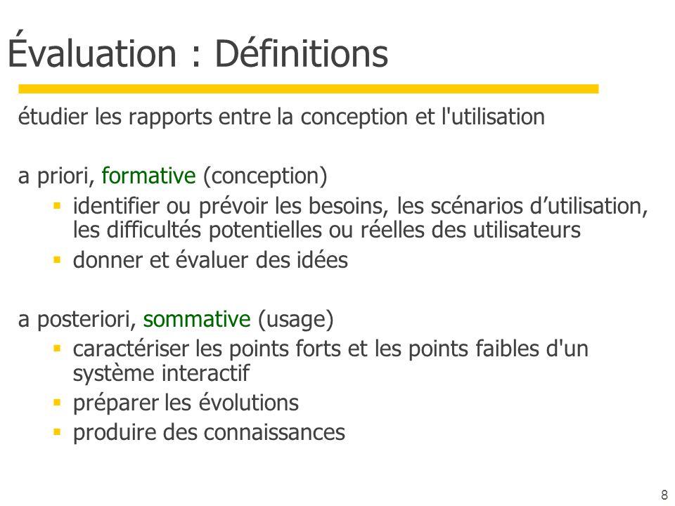 8 Évaluation : Définitions étudier les rapports entre la conception et l'utilisation a priori, formative (conception) identifier ou prévoir les besoin