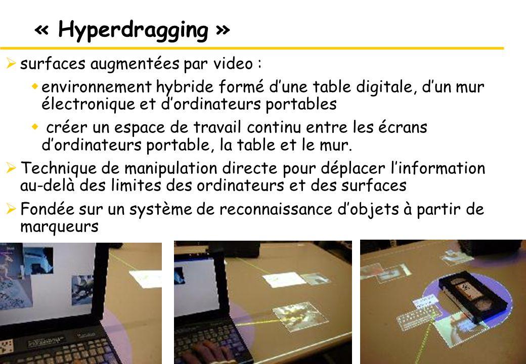 15 « Hyperdragging » surfaces augmentées par video : environnement hybride formé dune table digitale, dun mur électronique et dordinateurs portables créer un espace de travail continu entre les écrans dordinateurs portable, la table et le mur.