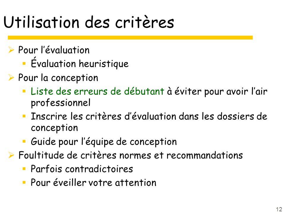 12 Utilisation des critères Pour lévaluation Évaluation heuristique Pour la conception Liste des erreurs de débutant à éviter pour avoir lair professi