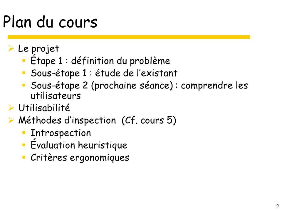 2 Plan du cours Le projet Étape 1 : définition du problème Sous-étape 1 : étude de lexistant Sous-étape 2 (prochaine séance) : comprendre les utilisat