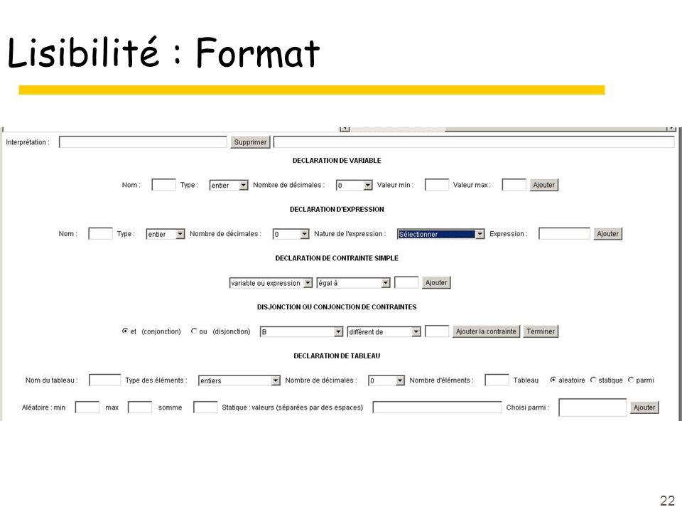 22 Lisibilité : Format