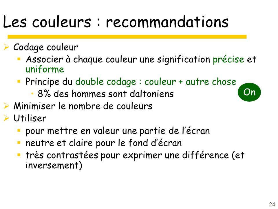 24 Les couleurs : recommandations Codage couleur Associer à chaque couleur une signification précise et uniforme Principe du double codage : couleur +